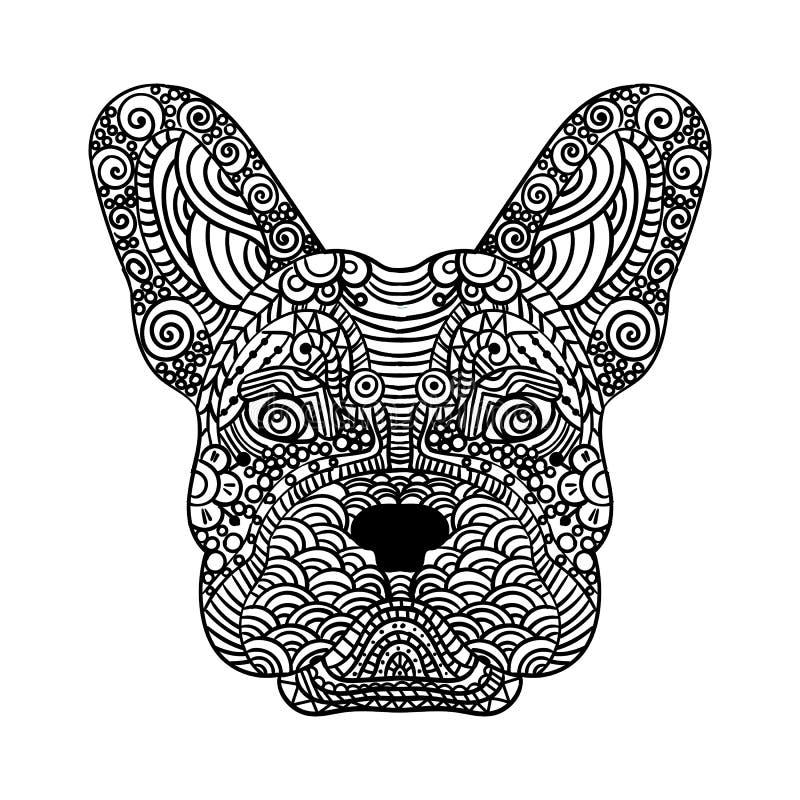 O zentangle da cabeça do buldogue francês estilizou, vector, ilustração, lápis a mão livre, mão tirada, teste padrão Arte do zen  ilustração stock