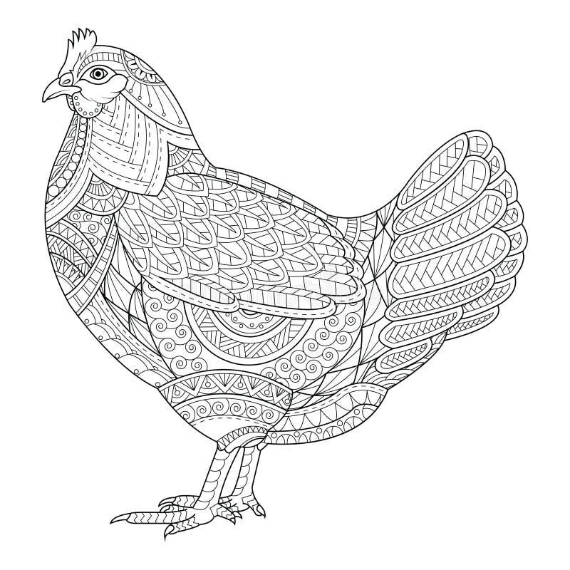 O zentangle da galinha estilizou para o livro para colorir para o adulto, tatuagem, ilustração do vetor