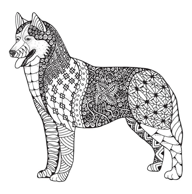 O zentangle do cão do cão de puxar trenós Siberian estilizou, vector, ilustração, fre ilustração royalty free