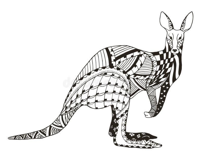 O zentangle do canguru estilizou, vector, ilustração, penc a mão livre ilustração royalty free