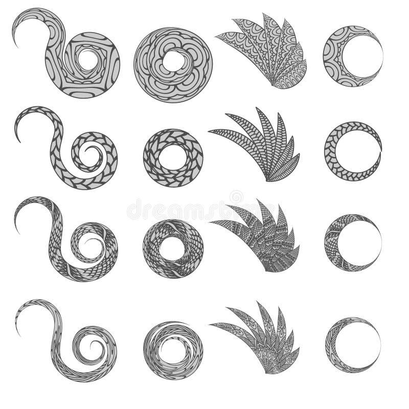 O zentangle floral étnico, círculo do teste padrão do fundo da garatuja, voa elementos no vetor Projeto das garatujas do mehndi d ilustração royalty free