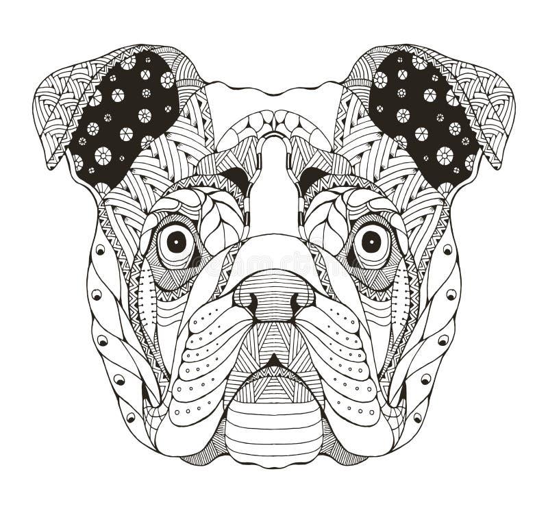 O zentangle inglês da cabeça do buldogue estilizou, vector, a ilustração, f ilustração do vetor