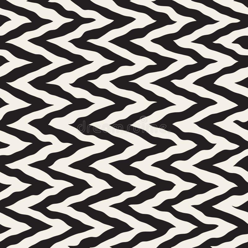 O ziguezague pintado à mão áspero arredondado preto e branco sem emenda do vetor alinha o teste padrão ilustração stock
