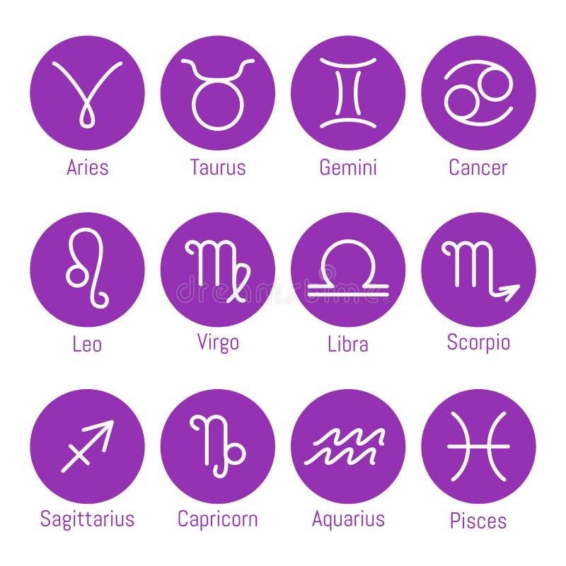 O zodíaco assina ícones, grupo de símbolos do horóscopo, ilustração do vetor ilustração do vetor