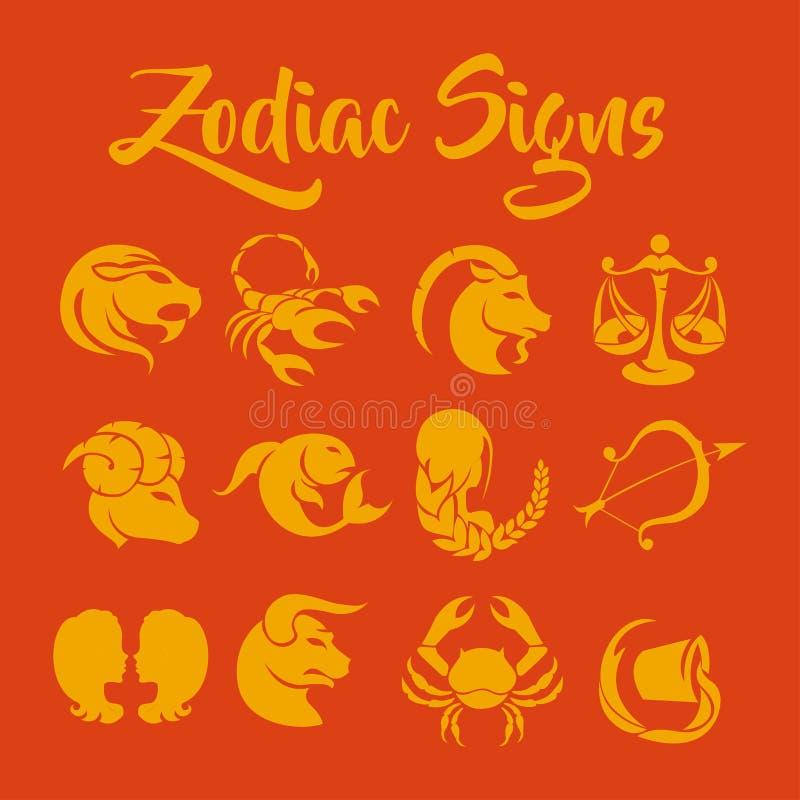 O zodíaco assina a arte do vetor ilustração royalty free