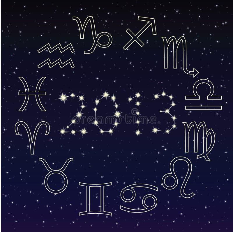 O zodíaco assina dentro o céu estrelado, 2013 ilustração royalty free