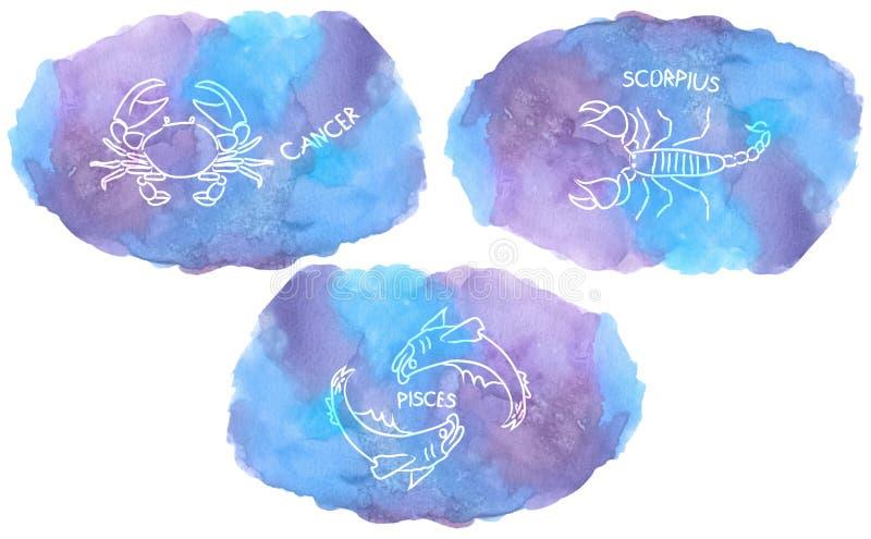 O zodíaco assina elementos do triplicity da água no fundo da aquarela ilustração stock