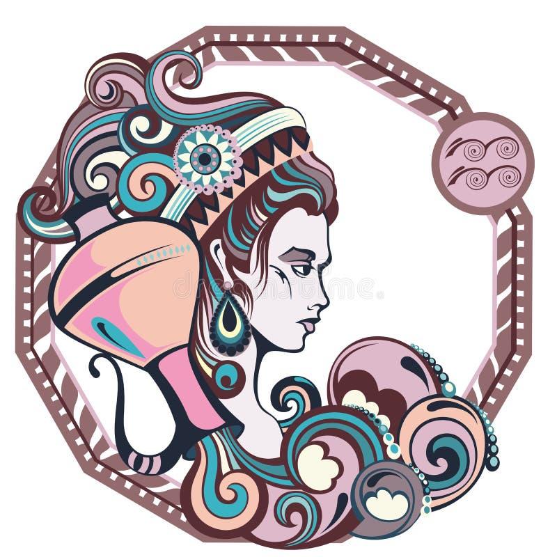 O zodíaco assina o aquarius Ilustração do vetor da menina ilustração royalty free