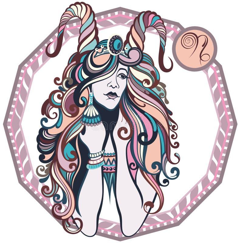 O zodíaco assina o capricorn Ilustração do vetor da menina ilustração royalty free