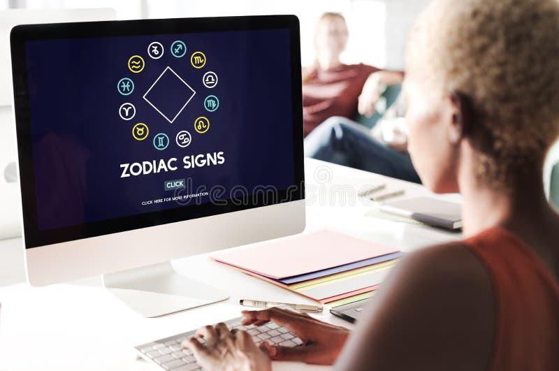 O zodíaco assina o conceito astrológico do horóscopo da previsão fotos de stock royalty free
