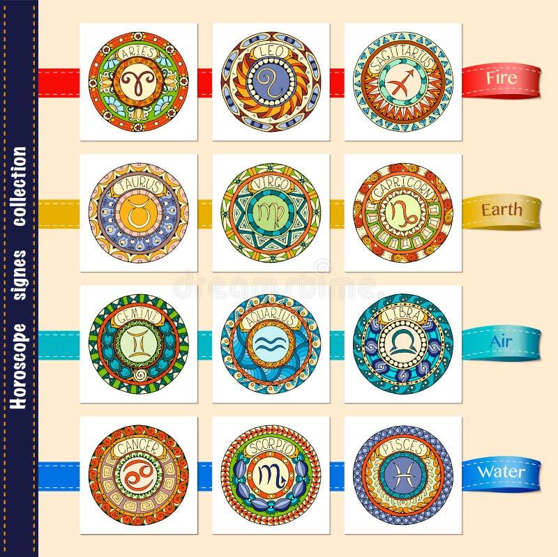 O zodíaco assina o tema Grupo de sinais do zodíaco da mandala Símbolo tribal tirado mão do horóscopo da mandala ilustração do vetor