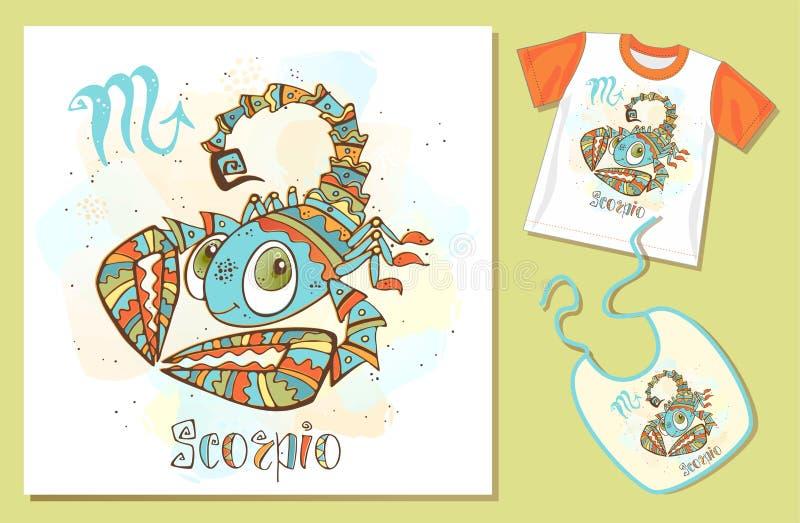 O zodíaco das crianças Sinal da Escorpi?o Exemplos da aplicação no t-shirt e no babador Vetor ilustração stock