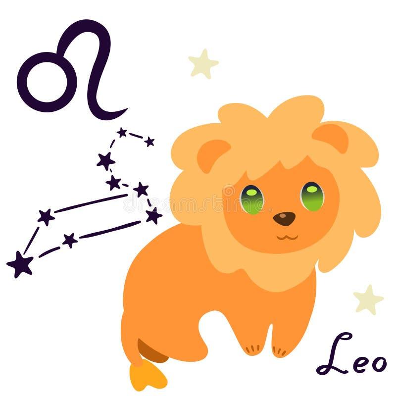 O zodíaco do Leão assina no isolado do estilo dos desenhos animados no vetor branco do fundo ilustração royalty free
