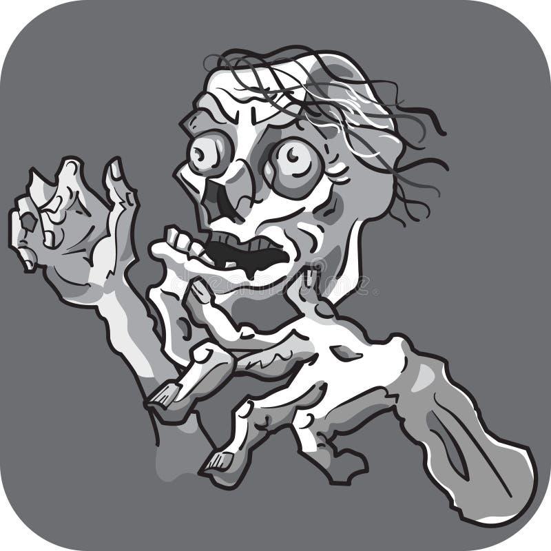 O zombi ou o esqueleto mau com mãos entregam tirado ilustração royalty free