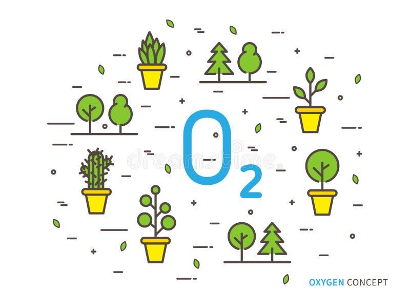 O2 zuurstof lineaire vectorillustratie stock illustratie