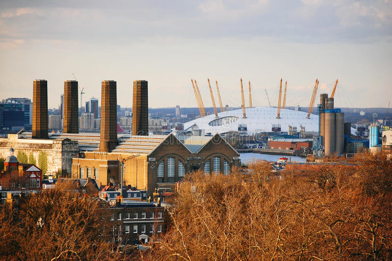 The O2 Arena in London viewed from Greenwich Park stock image