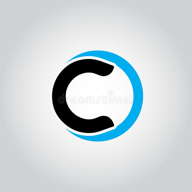 Initial Letter logo C inside circle shape, OC, CO, C inside O rounded lowercase black and blue color Vector vector illustration