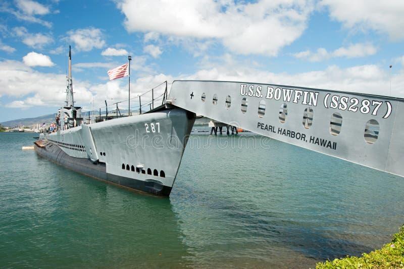 OAHU, ΓΕΙΑ - 20 Σεπτεμβρίου 2011 - υποβρύχιο USS Bowfin στο μαργαριτάρι εκτάριο στοκ εικόνα