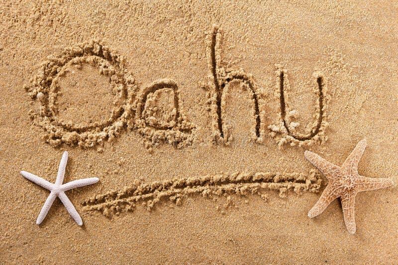 Oahu Χαβάη χειρόγραφο μήνυμα άμμου παραλιών στοκ φωτογραφίες με δικαίωμα ελεύθερης χρήσης