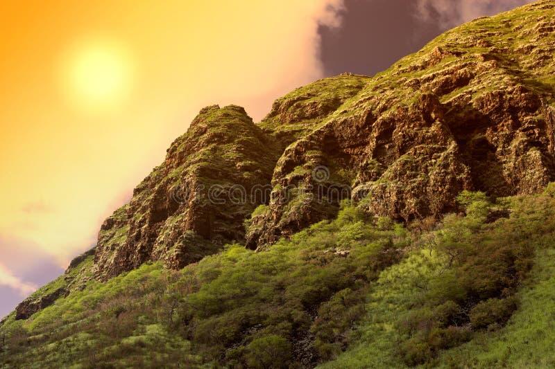 Oahu - coucher du soleil hawaïen photos stock