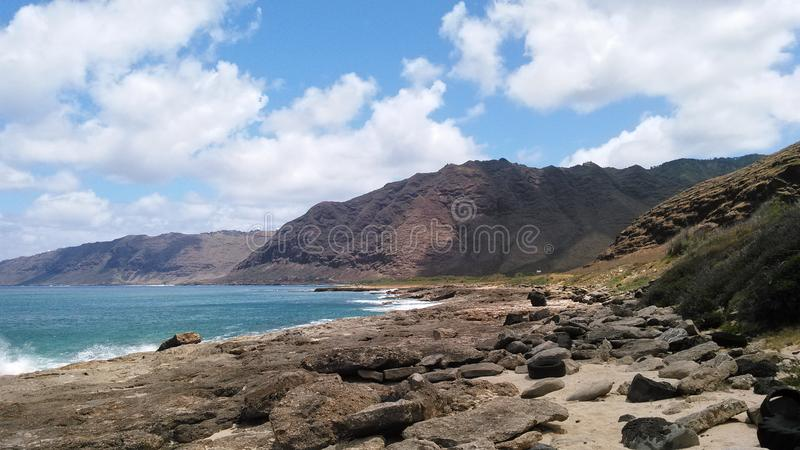 Oahu mountains shore hawaii royalty free stock images