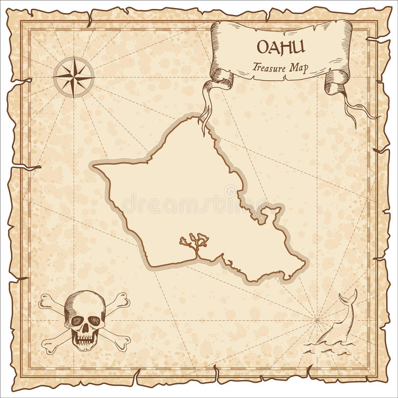 Oahu old pirate map. Sepia engraved parchment template of treasure island. Stylized manuscript on vintage paper stock illustration
