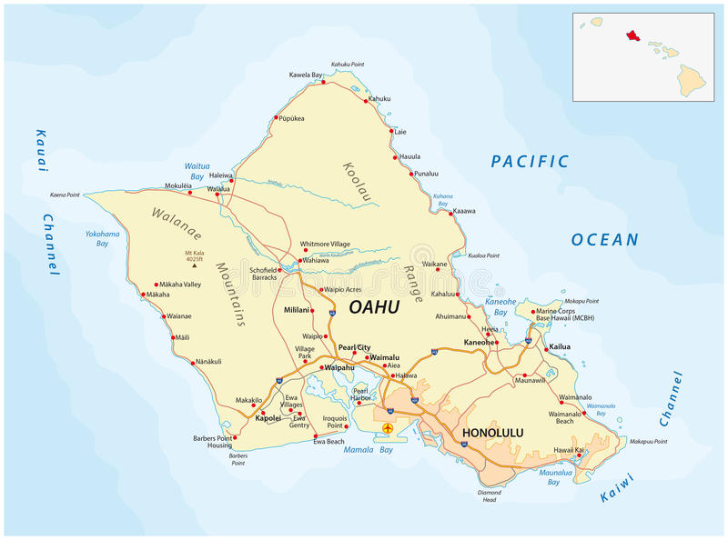 Oahu Road Map Stock Illustration Illustration Of Interstate - Road map of hawaii