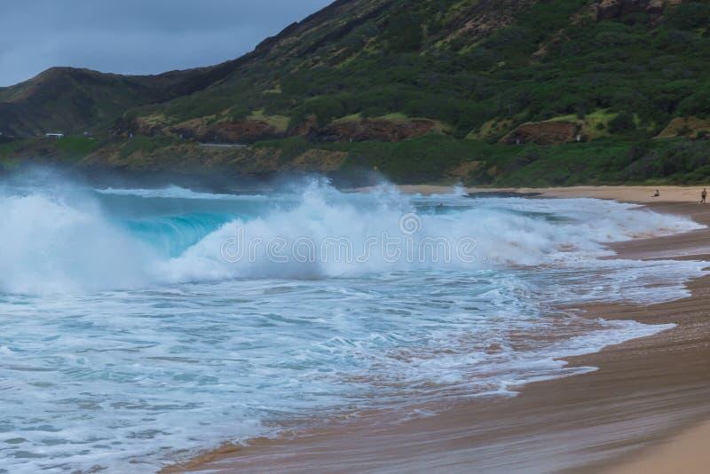 Oahu strand med stort krascha för vågor royaltyfri fotografi