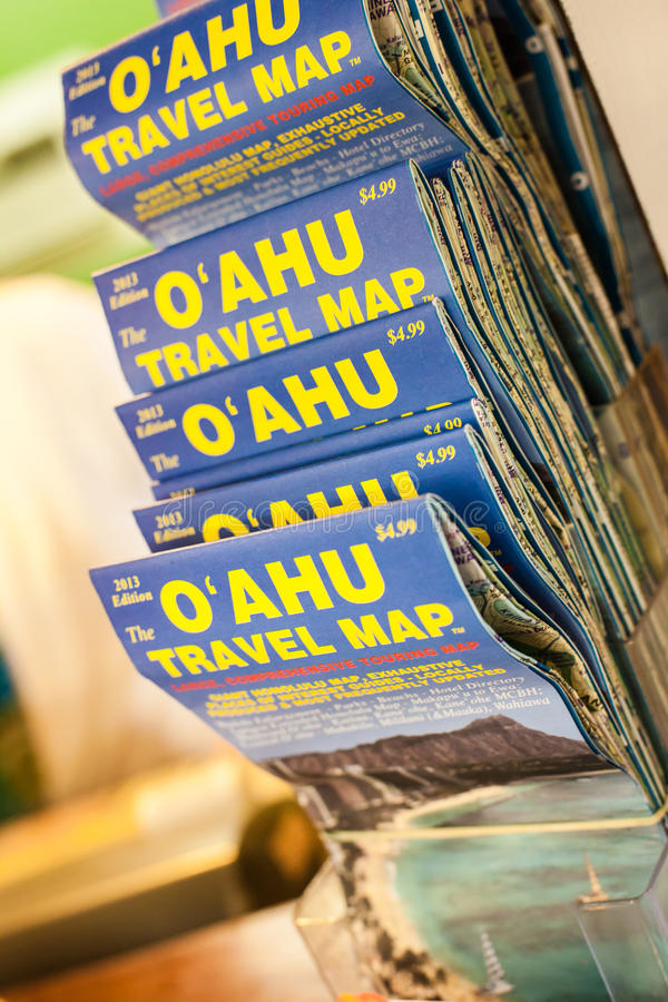 Oahu Travel Map Editorial Stock Photo