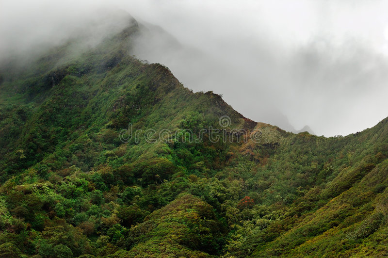 Oahu volcanic mountains stock image
