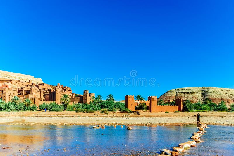 Oaisis Ait Ben Haddou in Marokko royalty-vrije stock foto