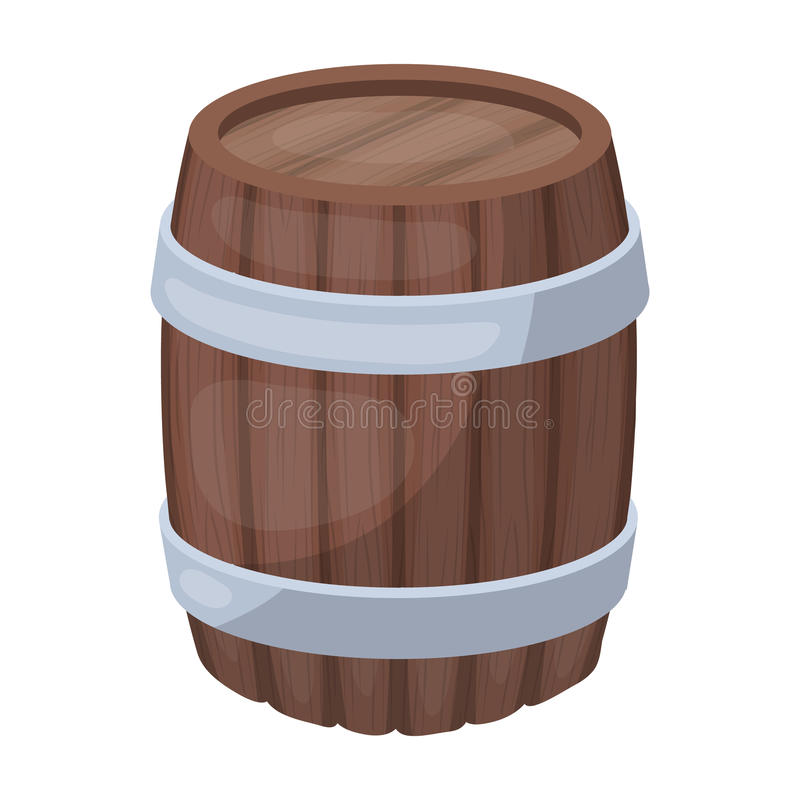 Oak barrel beer. A barrel in which beer is brewed. Pub single icon in cartoon style vector symbol stock illustration. vector illustration