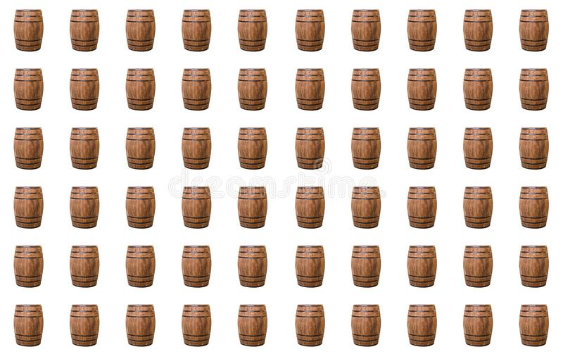 Oak barrel brown with metal hoops on a white isolated background royalty free stock photo