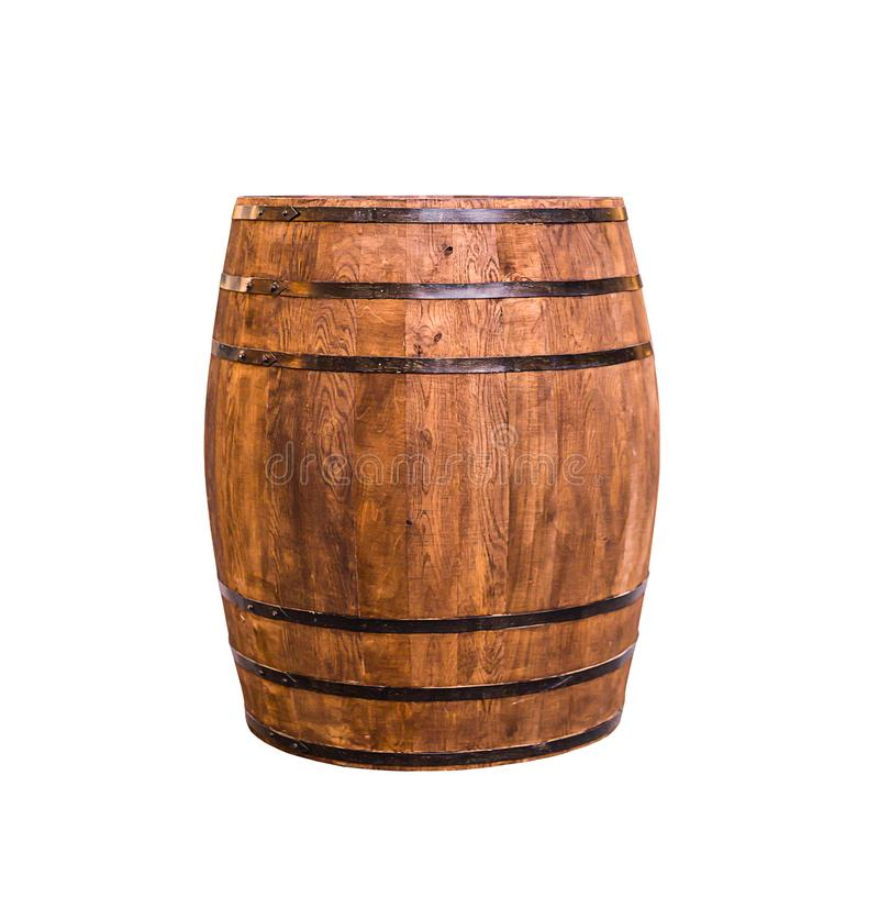Oak barrel of winemaking brown vintage with iron rings, aging of wine and beer or scotch stock photos