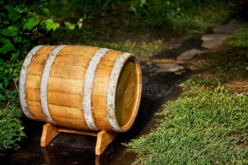Oak Barrel. Wooden barrel covered with wax stock photography