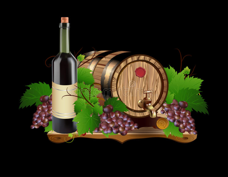 In oak barrels for grapes. Graphic illustration depicting a barrel made ​​for wine grapes and bottle labels ideal for stock illustration