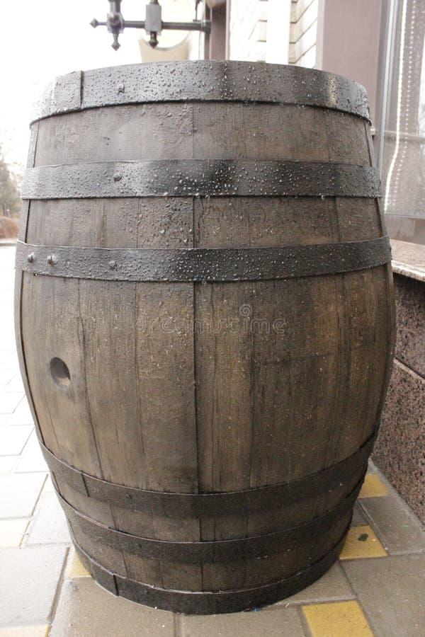 Oak barrels outside stock photography