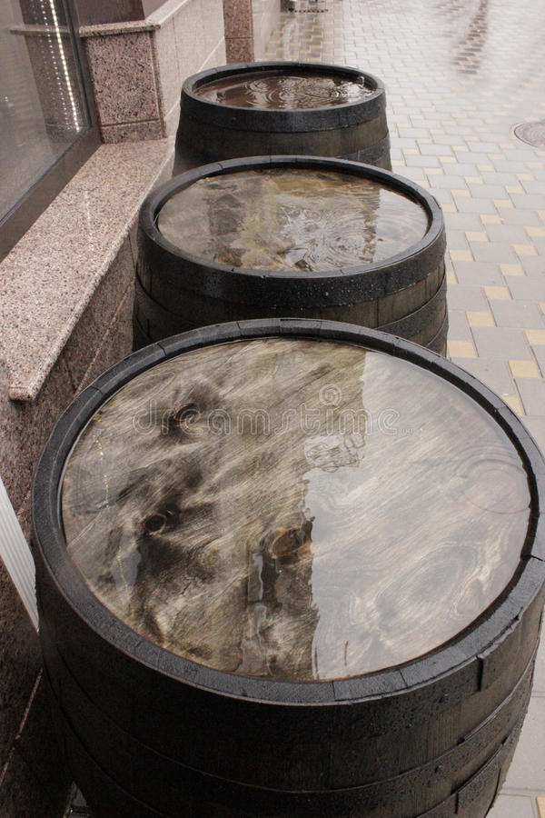 Oak barrels outside royalty free stock images