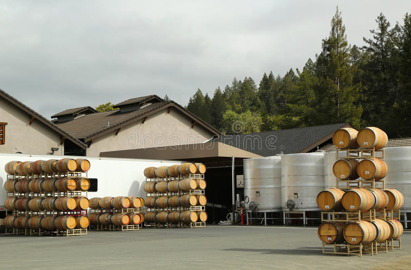 Oak barrels and stainless steel fermentation tanks at the vineyard stock photos