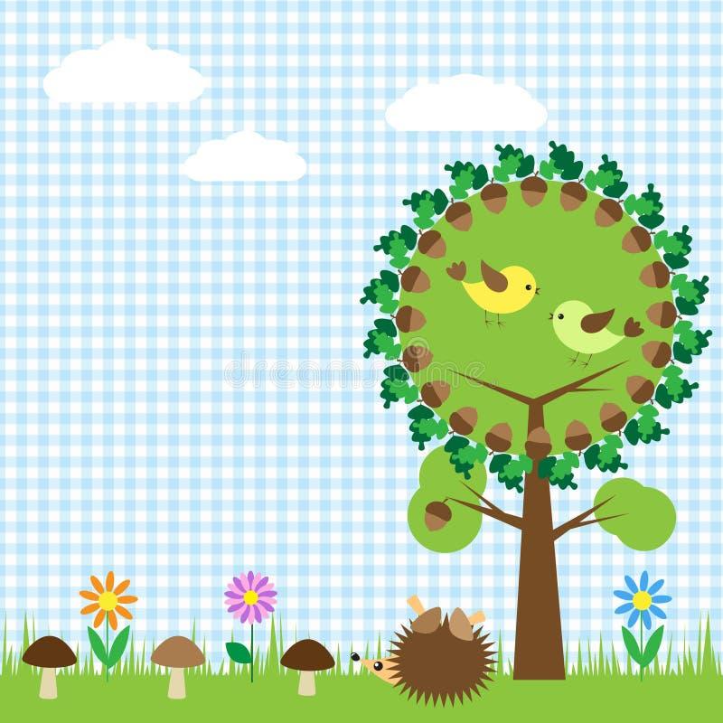 Download Oak and birds stock vector. Image of frame, mushroom - 23772152