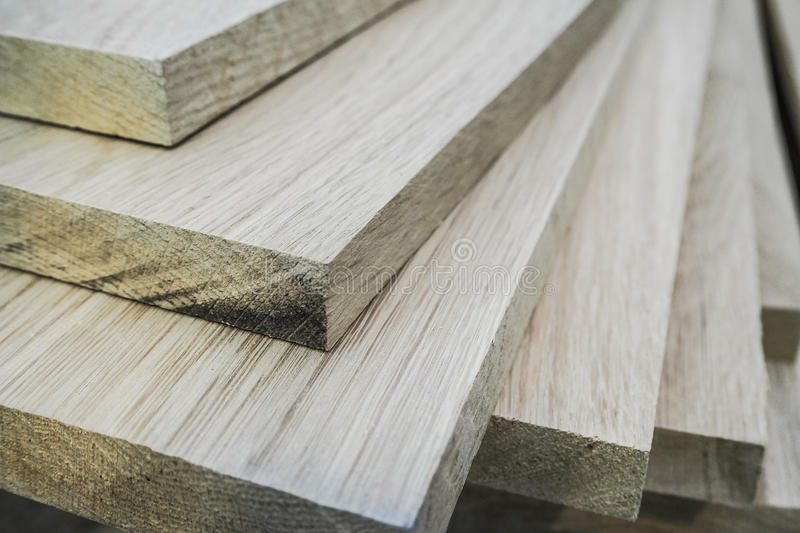 Oak boards of wood are bundles furniture manufacturing stock photos