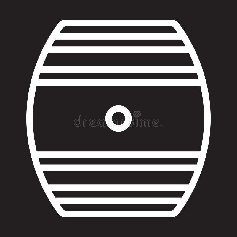 Oak Cask line icon, white outline sign, vector illustration stock illustration