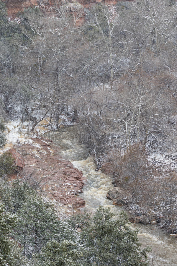 Oak Creek Canyon Snow stock photo