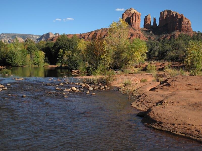 Oak Creek and Cathedral Rock, Sedona Arizona stock photo