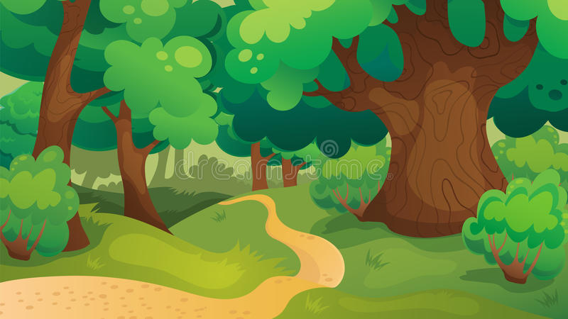 Oak Forest Game Background vector illustration