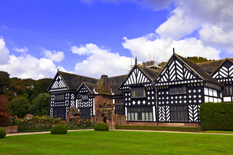 Oak framed Elizabethan mansion. Historic Tudor manor house in Speke, Liverpool, England royalty free stock photo