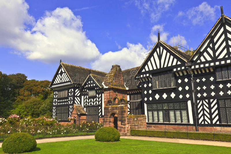 Oak framed Elizabethan mansion. Historic Tudor manor house in Speke, Liverpool, England royalty free stock images