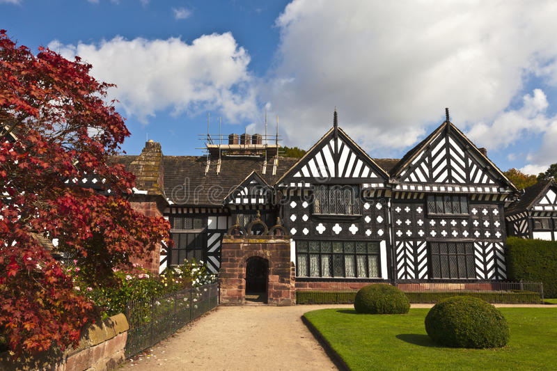 Oak framed Elizabethan mansion. Historic Tudor manor house in Speke, Liverpool, England royalty free stock photography