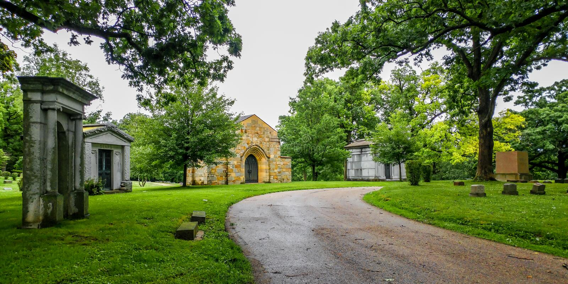 Oak Hill Cemetery in Lake Genève, Wisconsin stock foto