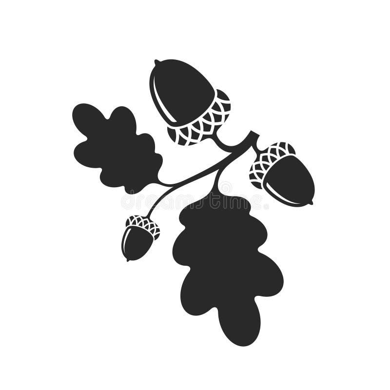 oak isolerad filialhebe stock illustrationer